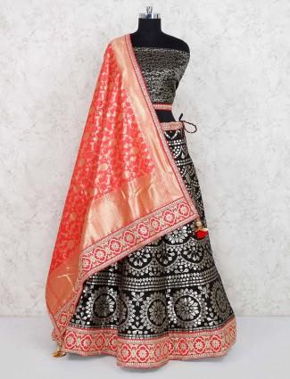 Black color semi stitched banarasi silk lehenga choli