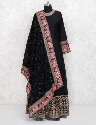 Black color silk fabric anarkali salwar suit