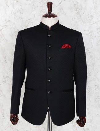 Black color terry rayon fabric solid jodhpuri blazer