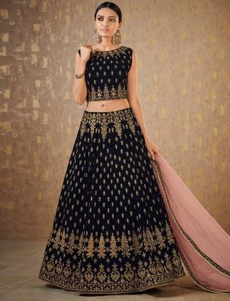 Black color velvet lehenga choli