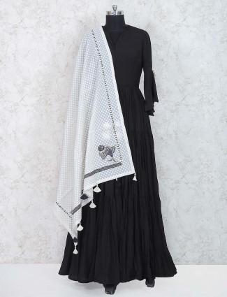 Black colored floor length anarkali suit