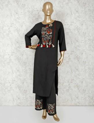 Black cotton festive function pant style suit