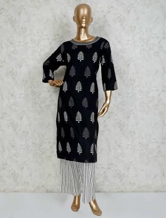 Black cotton printed palazzo set