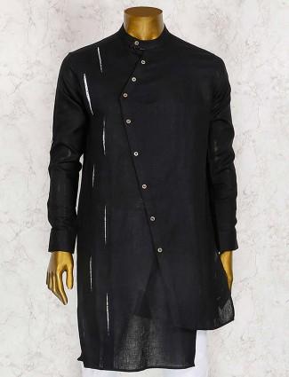 Black designer solid kurta suit