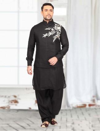 Black festive wear cotton  waistcoat set