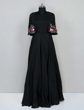Black floor length silk gown for wedding