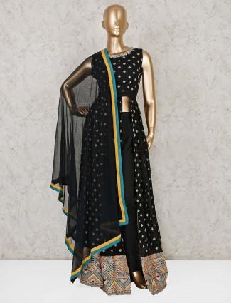 Black georgette designer indo western suit