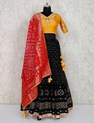 Black georgette indian wedding or party lehenga choli