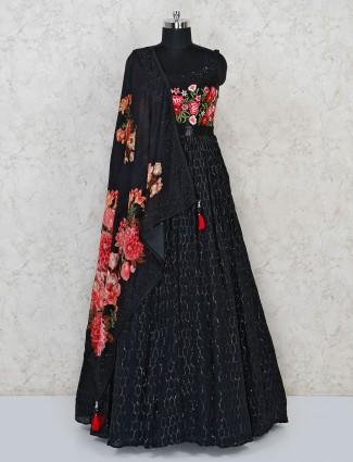 Black georgette party floor length anarkali suit