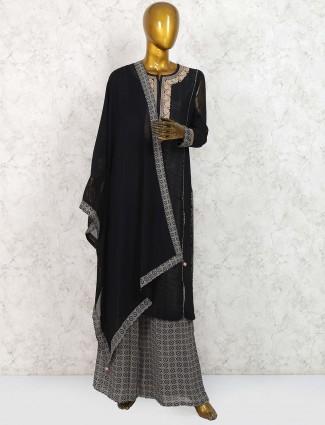 Black hue georgette punjabi palazzo suit