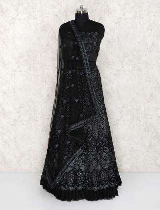 Black hue net party semi stitched lehenga choli