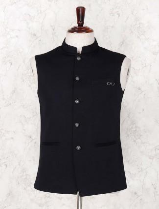 Black hue solid festive wear waistcoat