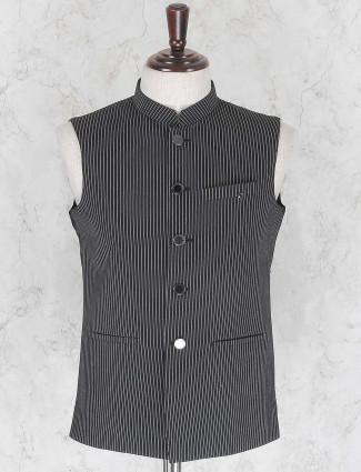 Black hued stripe pattern waistcoat