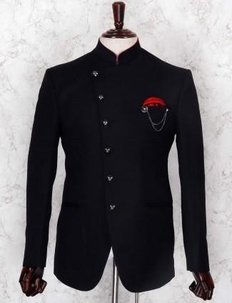 Black hued terry rayon jodhpuri blazer