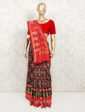 Black hydrabadi patola silk indian saree