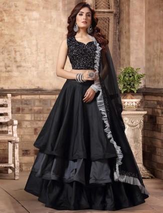 Black party wear layer style lehenga choli