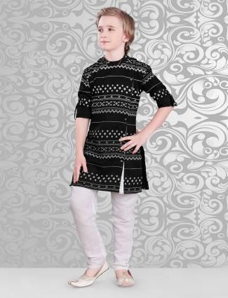 Black printed cotton kurta suit for festive