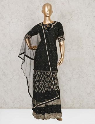 Black raw silk designer punjabi sharara suit