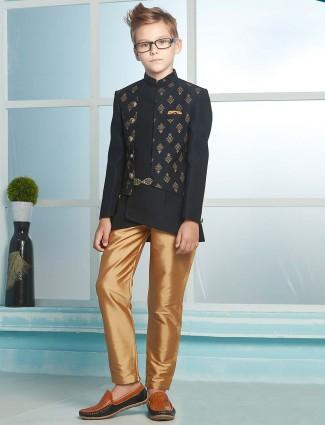 Black silk stand collar indo western for stunnig boys