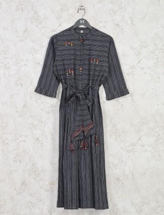 Black stripe design cotton tunic