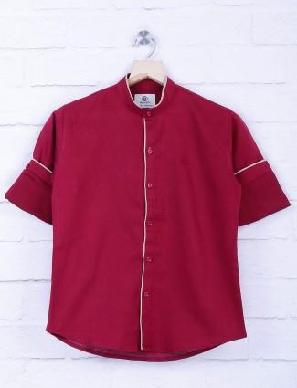 Blazo maroon hue solid shirt