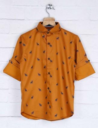 Blazo printed gold casual slim collar shirt
