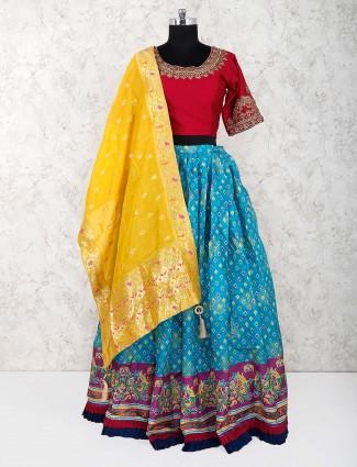 Blue and red printed cotton lehenga choli