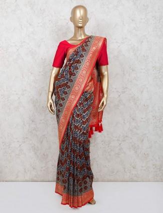 Blue banarasi silk saree for wedding function