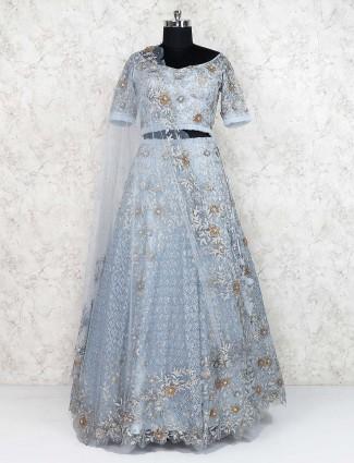 Blue color pretty lehenga choli in net fabric