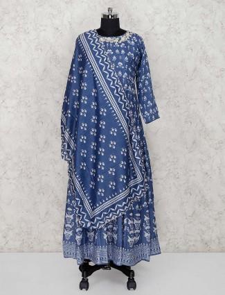 Blue color printed floor length anarkali salwar suit