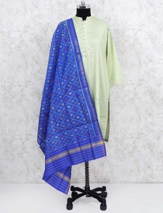 Blue colored patola silk dupatta