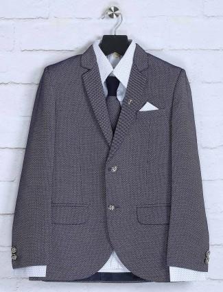 Blue colored solid coat suit