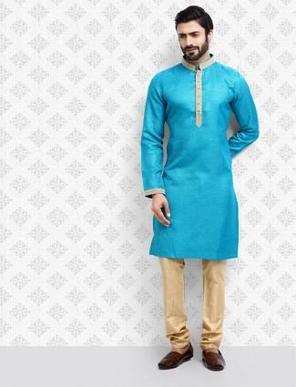 Blue cotton fabric half buttoned placket kurta suit
