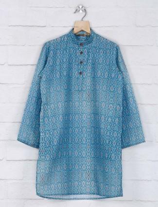 Blue cotton festive wear boys kurta suit