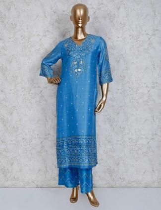 Blue cotton festive wear printed palazzo set