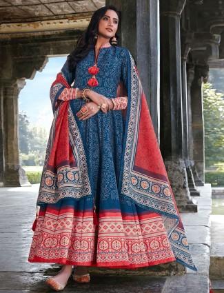 Blue cotton silk floor length Anarkali suit for festive look