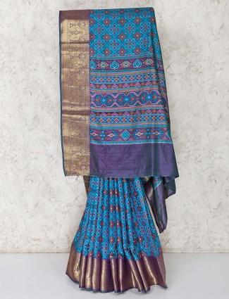 Blue cotton silk patola printed saree