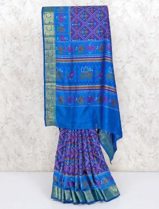 Blue cotton silk patola printed sari