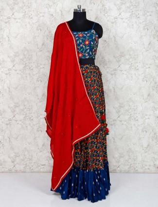 Blue cotton silk pretty lehenga choli