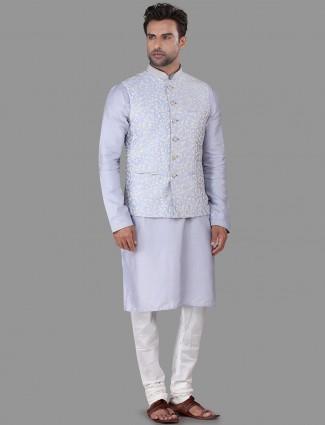 Blue cotton silk thread woven waistcoat set