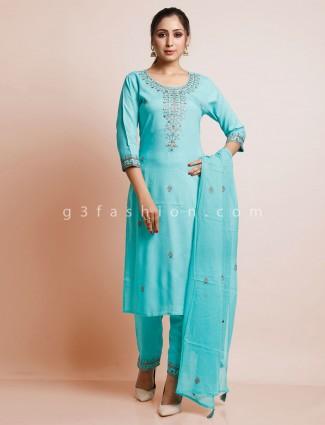 Blue cotton thread work pantsuit for festive