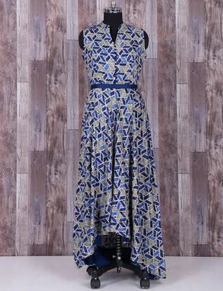 Blue cotton wonderful printed kurti