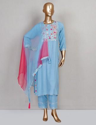 Blue festive wear cotton pant salwar kameez