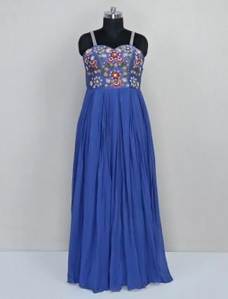 Blue georgette anarkali salwar suit for parties