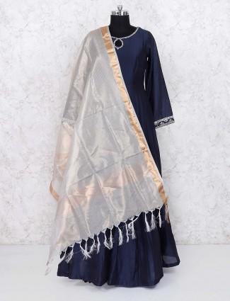 Blue hue cotton silk festive floor length anarkali salwar suit