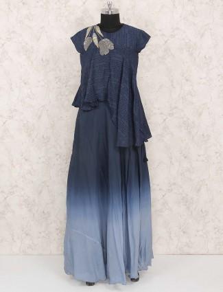 Blue hue designer lehenga cum salwar suit in cotton