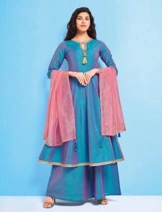 Blue hue lovely cotton silk punjabi palazzo suit