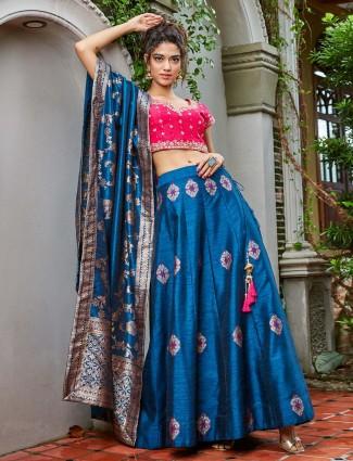 Blue hue raw silk festive lehenga choli