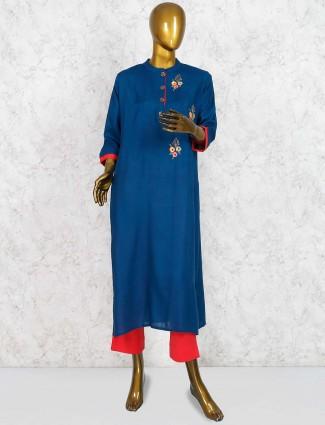 Blue hue salwar suit in cotton