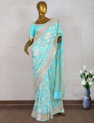 Blue hue silk fabric saree
